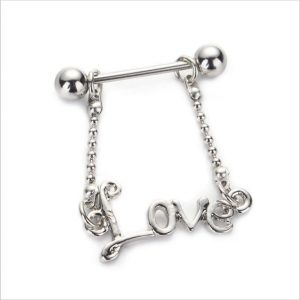 Nipple Ring with Love Dangle