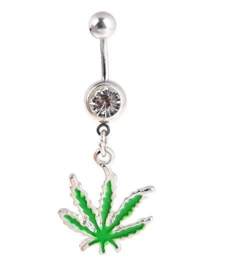 Sexy Jamaican Pot Hippy Leaf Crystal Belly Ring Bar Jewellery